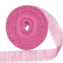 Jute band roze, 6cm