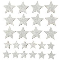 Setje zilveren sterren, 24stuks