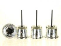 waxineglas op steker d6,5xh11,5cm zilver