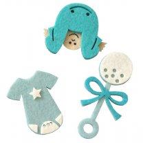 Setje blauwe vilten figuren rammelaar baby romper