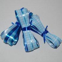Krullint lichtblauw, koningsblauw, petroleumblauw, wit en geruit lint