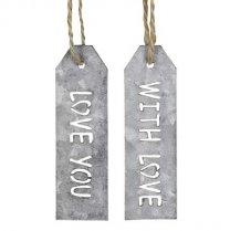 Zinken labels; With love, Love you, 8cm