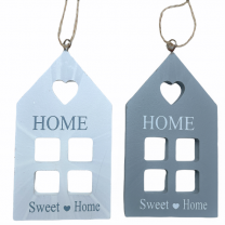 Huis hangers, Grijs en WIt, 11cm