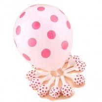 Ballonnen Wit met roze stippen, 6 stuks