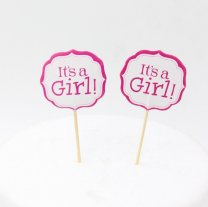 Cake Topper, It's a Girl op stok, 12stuks