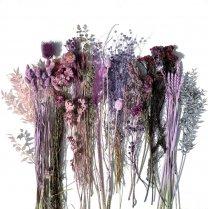 Droogbloemenmix Roze, lila, fuchsia en grijs