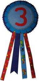 Verjaardagsrozet jongen kleurcombinatie 3 rood-blauw