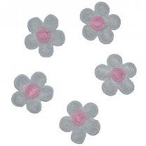 Wit bloemetje met roze hart, 12 stuks, 2,5cm