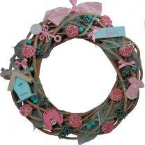 Roze met mintkleurige herfst geboortekrans, 40cm