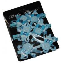 6 Knijpertjes met blauwe houtenflesje, 5x3,5cm