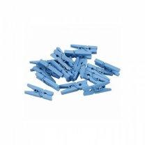 Houten wasknijpertjes lichtblauw, 24 stuks