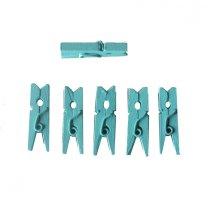 Houten wasknijpertjes Tiffany blauw, 24 stuks