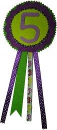 Verjaardagsrozet jongen kleurcombinatie 5 groen-paars