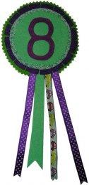 Verjaardagsrozet jongen kleurcombinatie 8 paars-mintgroen