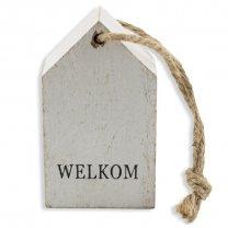 Wit decoratie huisje Welkom 7,5cm