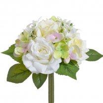 Bundel gemengde bloemen, Rozen en hortensia's, 28cm