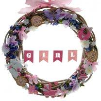 Decoratie pakket; Lente geboortekrans met roze en lila bloesem