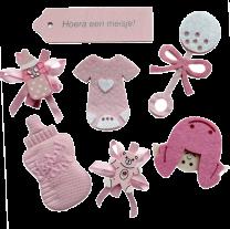 Hoera een meisje, gemengd zakje babyshower decoratie, 7 stuks