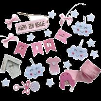 Geboortemix Roze met wolkjes, wit huisje en linten