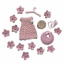 Roze mix met gehaakt jurkje en bloemetjes