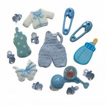 Lichtblauwe mix van 15 geboortefiguurtjes