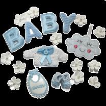 Gemengd setje Lichtblauw BABY met wolkje