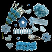 Blauwe voorjaarsmix met foambloemetjes
