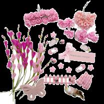 Roze voorjaarsmix met foambloemetjes