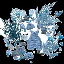 Wintermix wit en lichtblauwe decoratie
