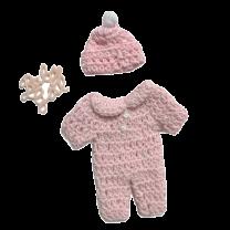 Roze Baby Girl gehaakt mutsje en pyjama