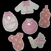 Mix roze-wit van 6 stoffen figuurtjes