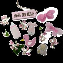 Hoera een meisje, houten lentemix roze