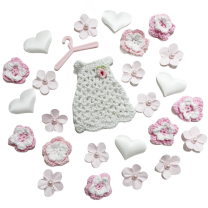 Wit- roze set met wit gehaakt jurkje