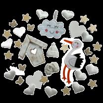 Witte geboorte decoratie set met ooievaar en huisje