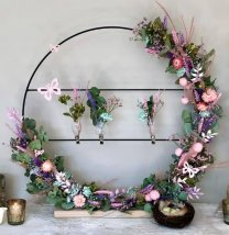 Pakket; Grote staande ring met droogbloemen en clipvaasjes, 57cm