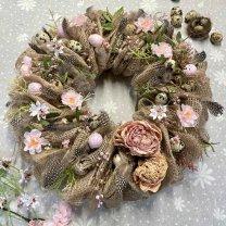 Jute lentekrans met gedroogde pioenrozen, 35cm