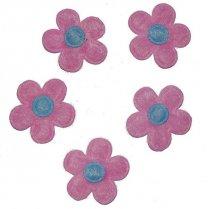 Roze bloemetje met lichtblauw hart, 12 stuks,  2,5cm