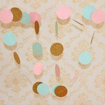 Baby shower Slinger cirkel goud-wit-roze 3mtr