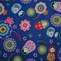 Babouchka's op blauwe stof, 35x120cm