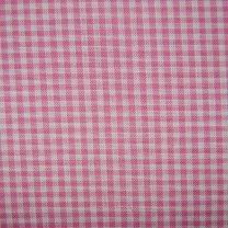 Roze met wit geruite stof. 35x120cm