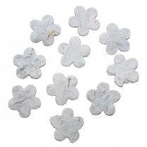 Witte bloemetjes van schors, 3cm