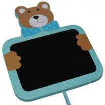 Krijtbordje blauwe beer, 10x10cm