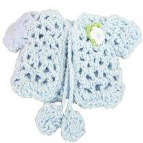 Blauw vestje met pompoms,10cm