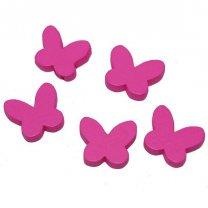 Houten vlindertjes, roze, 2cm