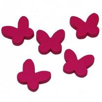 Houten vlindertjes, fuchsia, 2cm