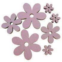 7 houten  bloemetjesmix roze