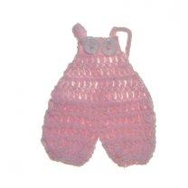 Gehaakte roze tuinbroek, 7,5cm
