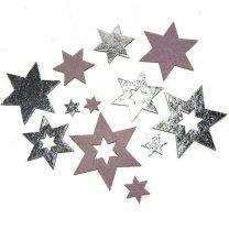 Vilten sterren  zilver-roze/lila, +-4cm