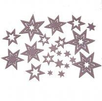 Vilten sterren roze/lila, +-4cm