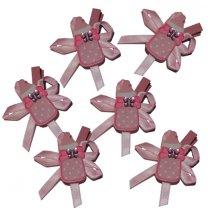6 Knijpertjes met roze houten flesje, 5x3,5cm